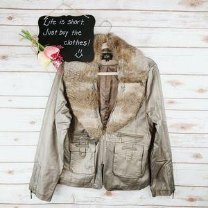 Luii Jacket Size L Rabbit Fur Faux Leather**
